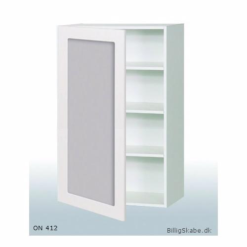 Køkken vitrineskab i Malet Hvid Front overskab H: 70,4 cm D: 34,0 cm - Låge med klart glas inklusiv 2 hylder - Bredde: N040 cm