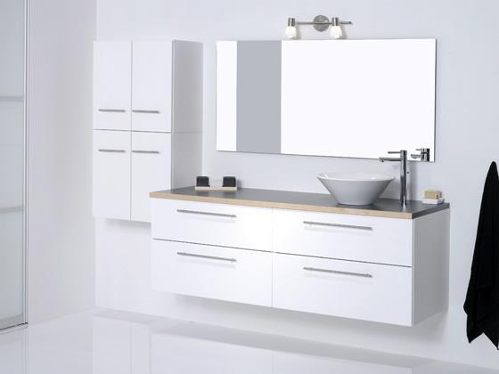 Fantastisk Badeværelseskabe I Hvid Højglans- Billigt badeværelsesskab i hvid DK01