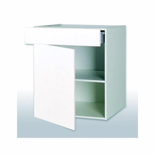 Malet hvid front hyldeskab med 1 skuffe b: 60 cm. med fuldudtræk/softluk - Skuffeskabe - malet hvid front