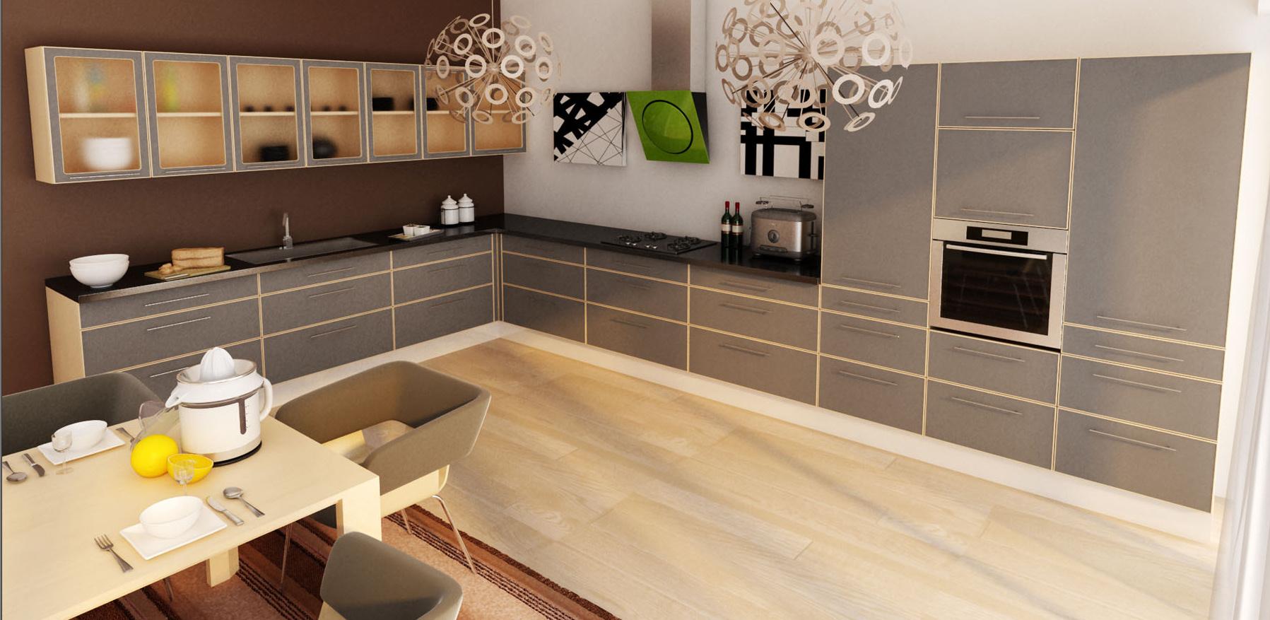 Grå design eg køkken   se køkkenskabe i grå eg