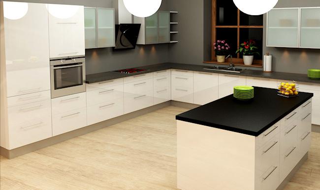 Køkkenskabe i hvid højlans