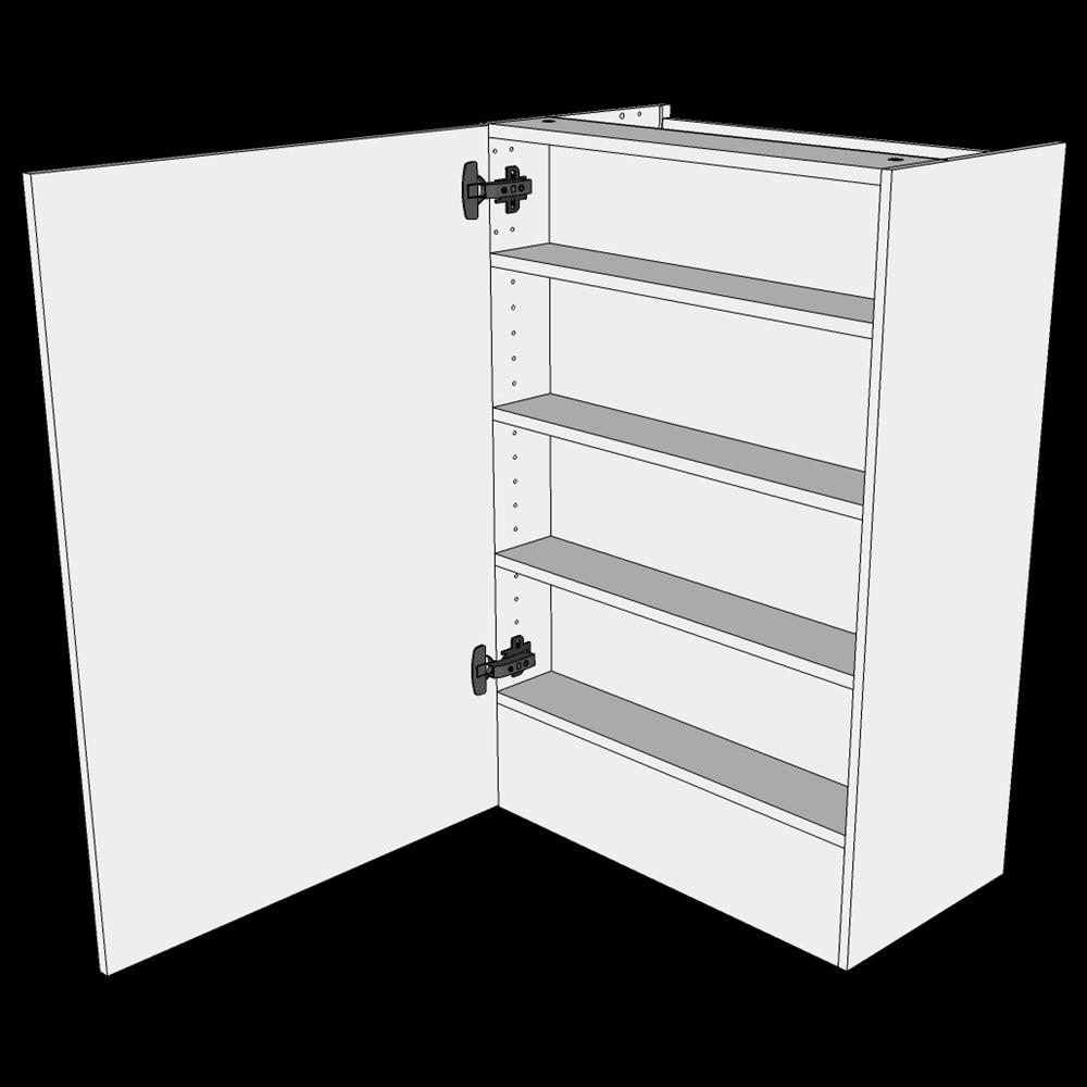 Image of   Emhættereol højt overskab H: 89,6 cm D: 34,0 - 1 låge inklusiv 3 hylder og fast bund