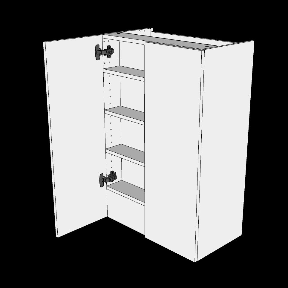 Image of   Emhættereol høj H: 89,6 cm D: 34,0 cm - 2 låger inklusiv 3 hylder samt 1 fast bund
