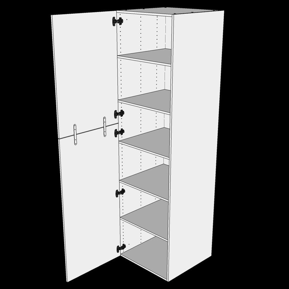 Image of   Ekstra højt Hyldeskab H: 214,4 cm D: 60,0 cm - 2 delt låge inklusiv 5 hylder