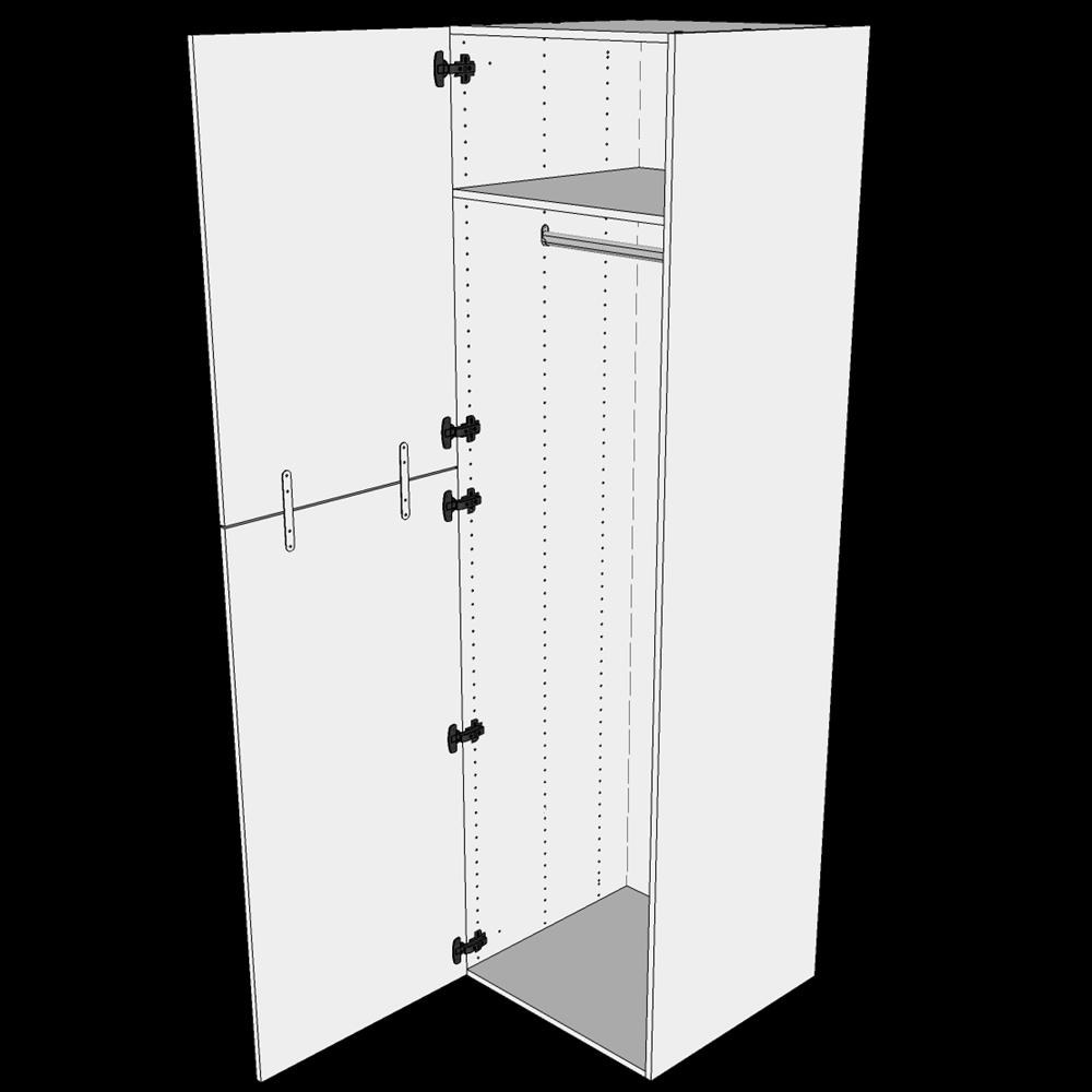Image of   Ekstra højt bøjleskab H: 214,4 cm D: 60,0 cm - 2-delt låge inklusiv 1 hylde samt 1 oval bøjlestang