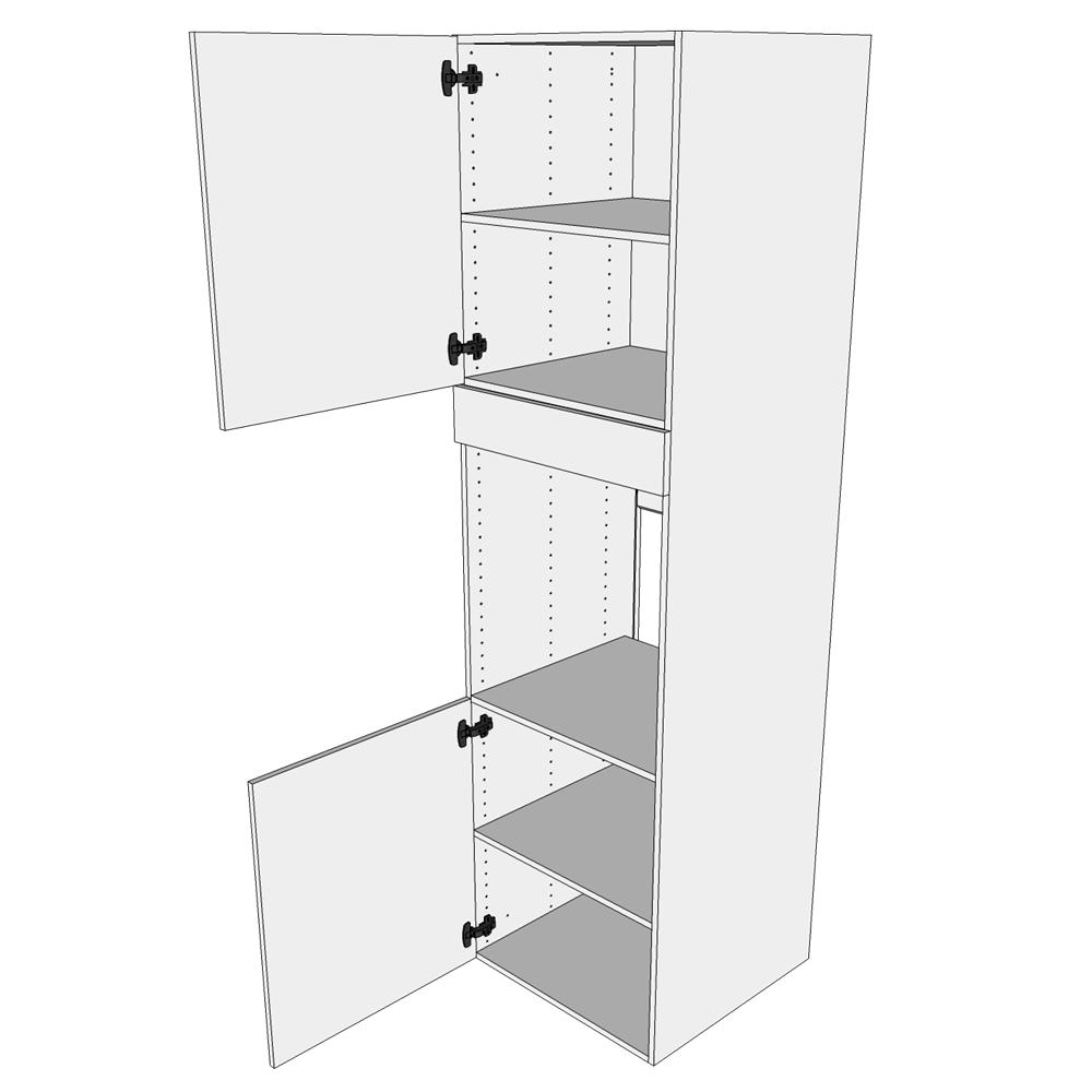 Image of   Ekstra højt indbygningsskab til køl H: 214,4 cm D: 60,0 cm - 2 låger inklusiv 2 flytbar hylder