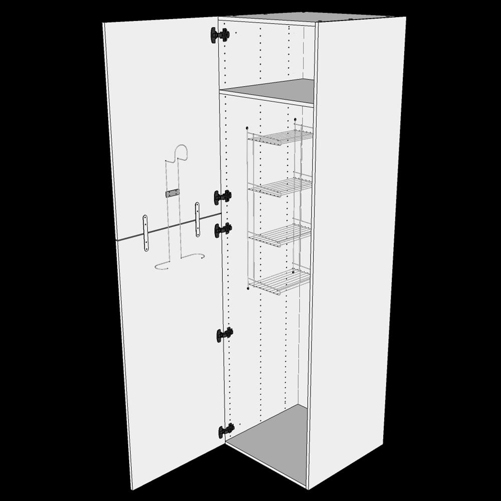 Image of   Ekstra højt kosteskab H: 214,4 cm D: 60,0 cm - Inklusiv 1 hylde, 1 trådreol, 1 slangeholder