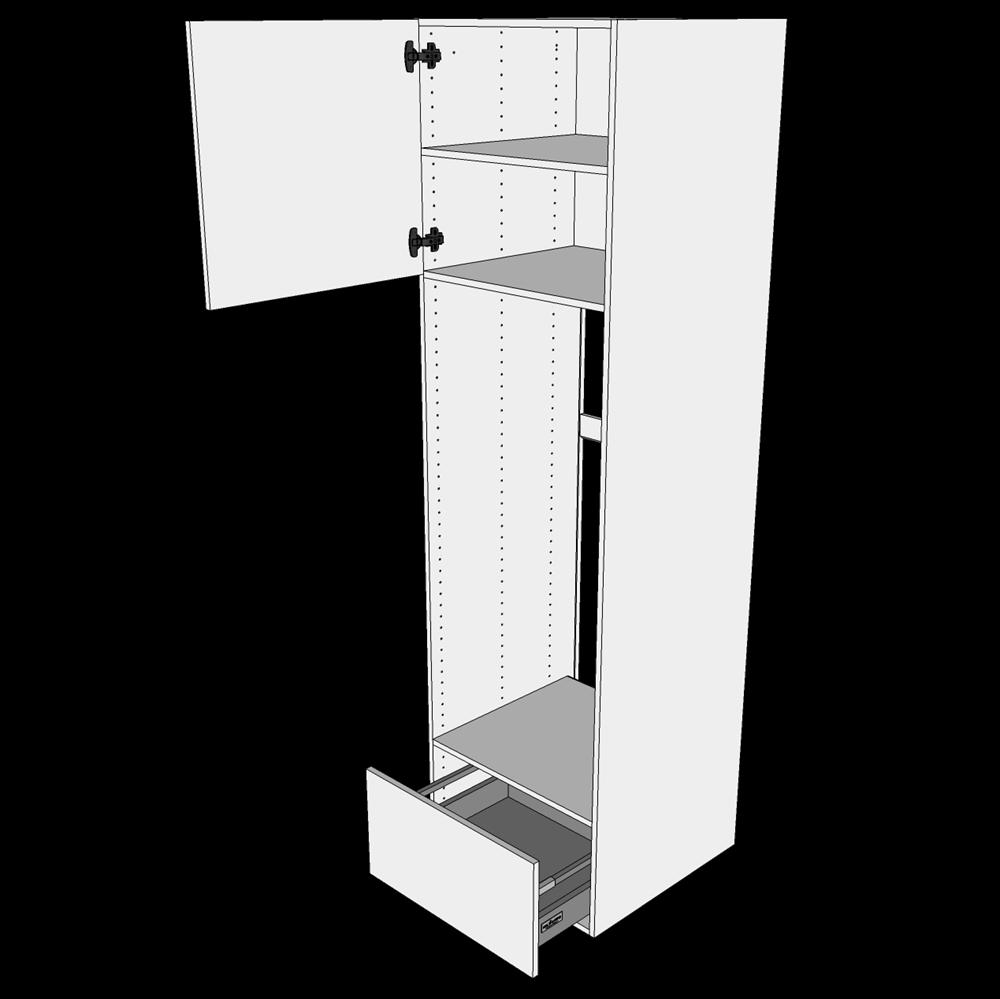 Image of   Ekstra højt indbygningsskab til køl H: 214,4 cm D: 60,0 cm - Toplåge og skuffe fuldudtræk/softluk