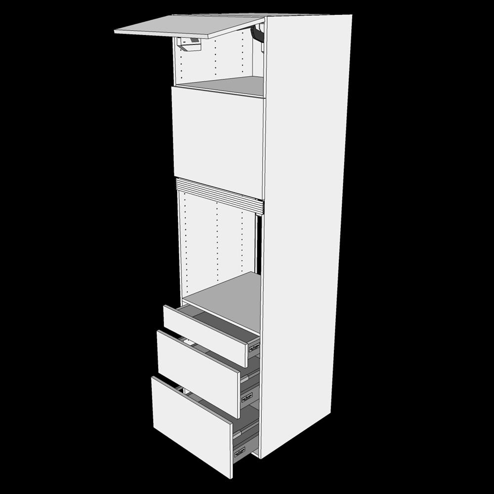 Image of   Ekstra højt indbygningsskab til ovn H: 214,4 cm D: 60,0 cm - 2 låger & 3 skuffer deludtræk/softluk