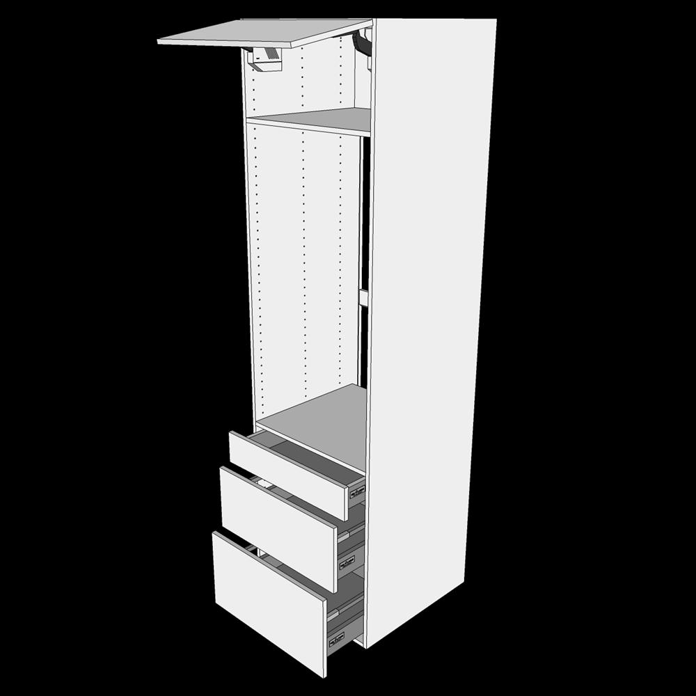 Image of   Ekstra højt indbygningsskab til ovn H: 214,4 cm D: 60,0 cm - 1 låge & 3 skuffer deludtræk/softluk