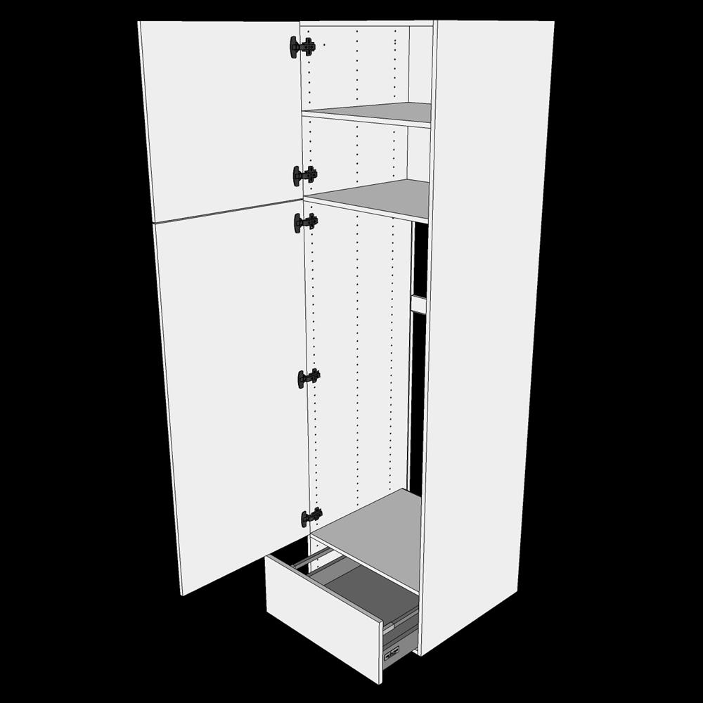 Image of   Ekstra højt indbygningsskab til ovn H: 214,4 cm D: 60,0 cm - 2 låger & 1 skuffe fuldudtræk/softluk
