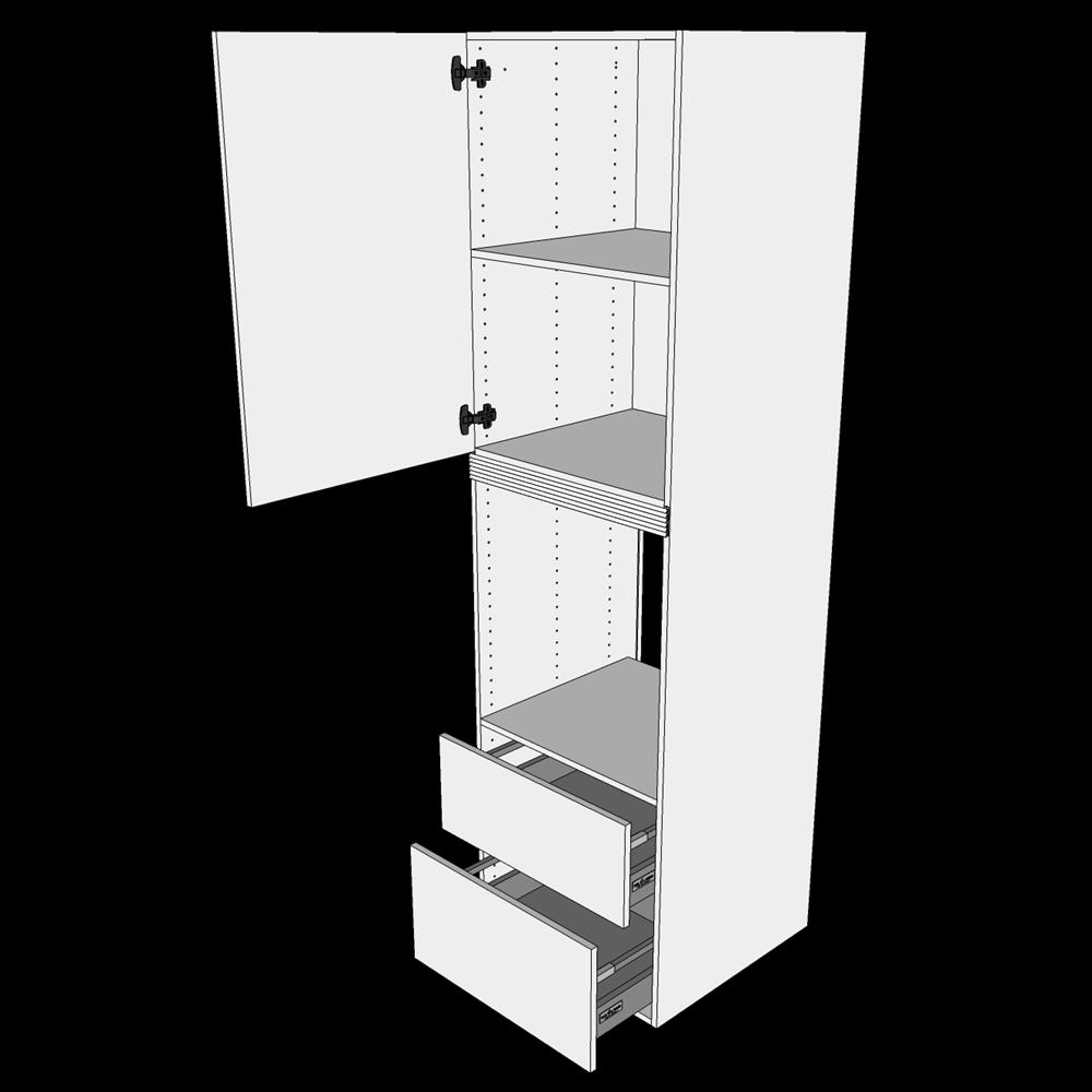 Image of   Ekstra højt indbygningsskab til ovn H: 214,4 cm D: 60,0 cm - 1 låge & 2 skuffer deludtræk/softluk