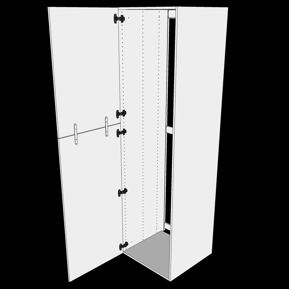 Image of   Ekstra højt indbygningsskab til køl H: 214,4 cm D: 60,0 cm - 2 låger & blændlåger