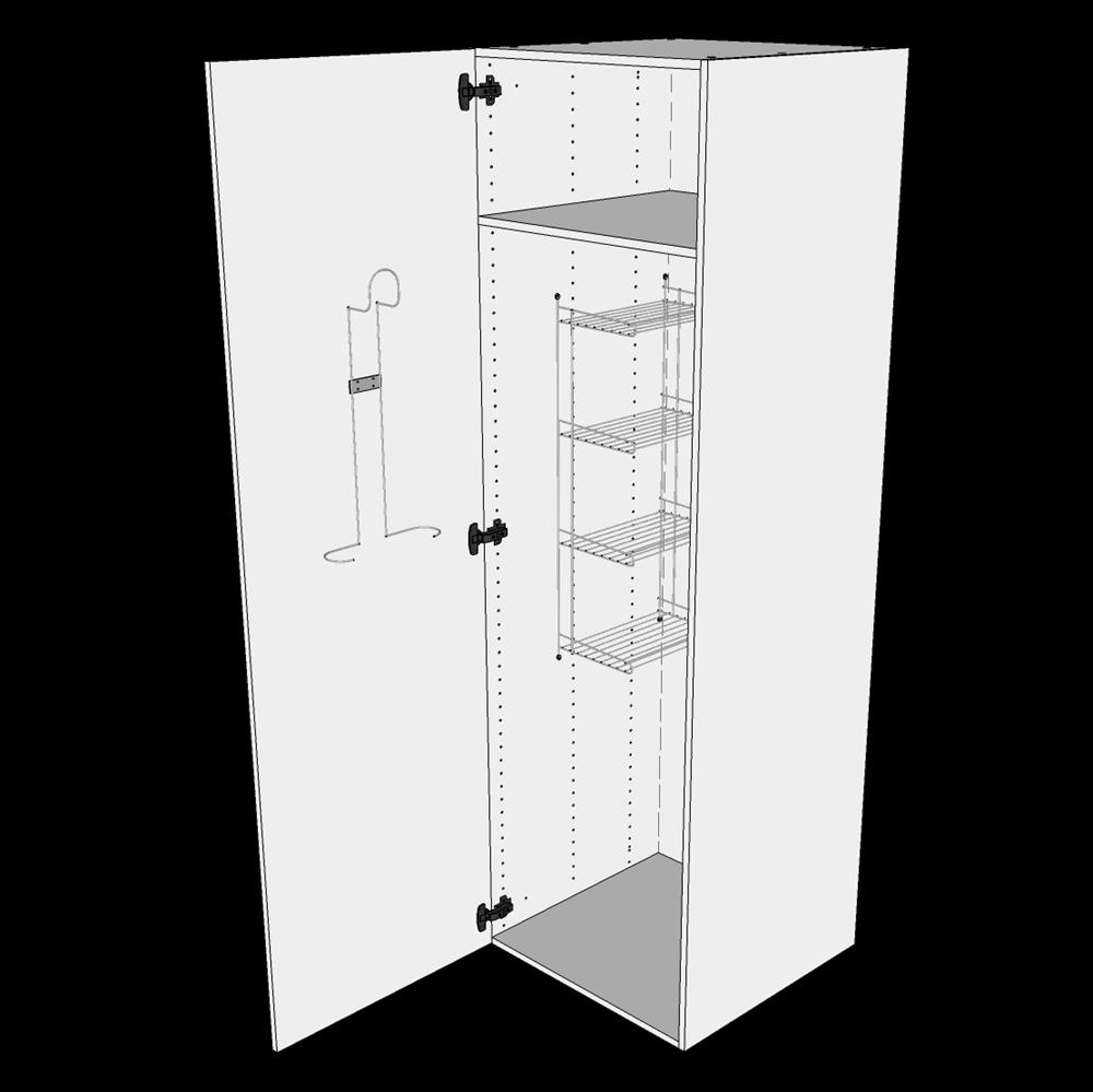 Image of   Kosteskab H: 195,2 cm D: 60,0 cm - Inklusiv trådreol, slangeholder & hylde