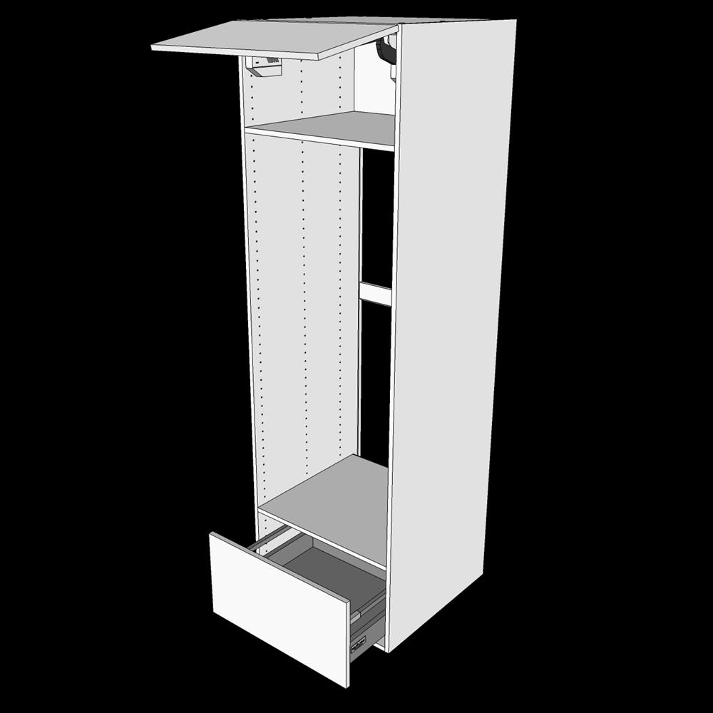 Image of   Indbygningsskab til køl H: 195,2 cm D: 60,0 cm - Toplåge & skuffe med fuldudtræk/softluk
