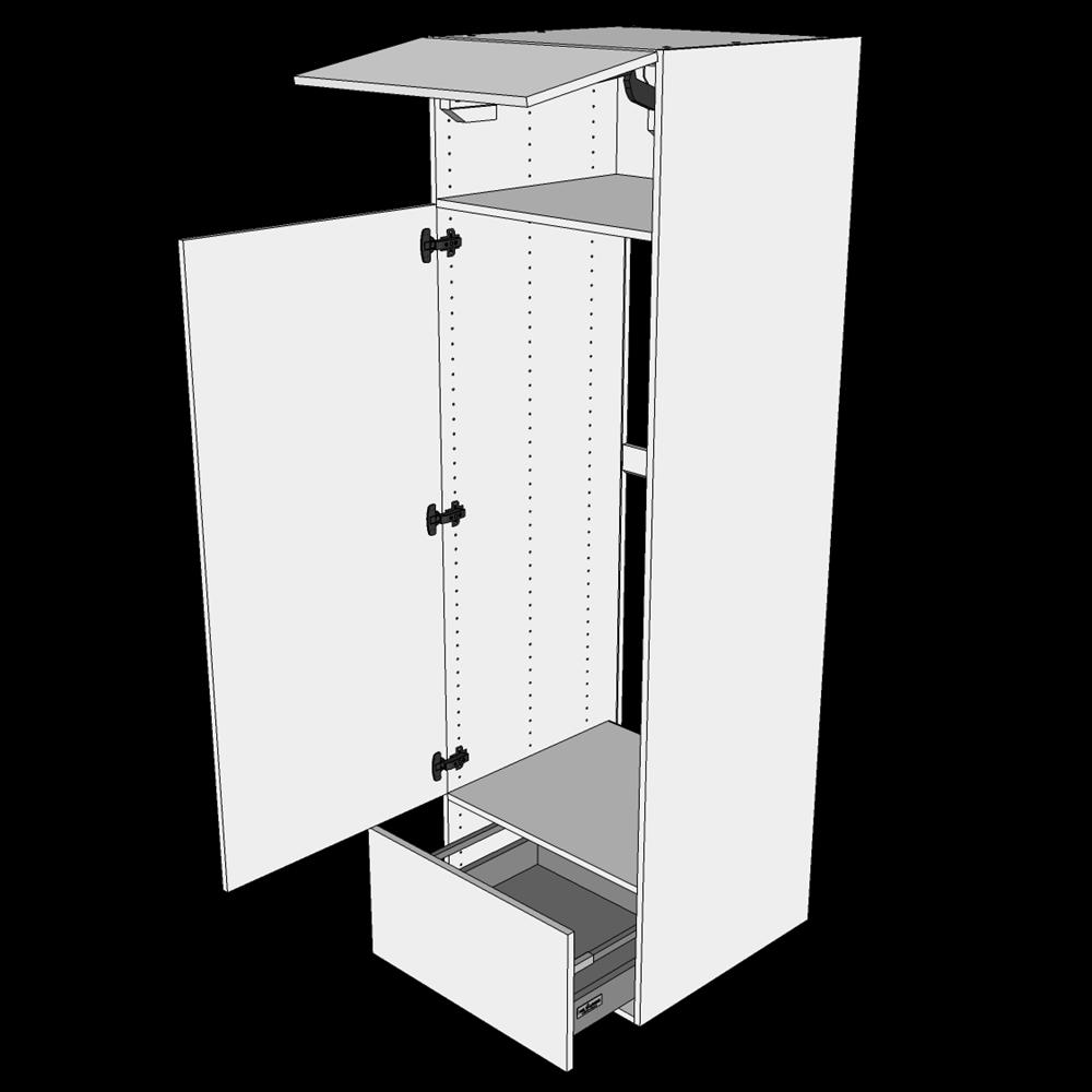 Image of   Indbygningsskab til køl H:195,2 cm D: 60,0 cm - Låge & skuffe fuldudtræk/softluk