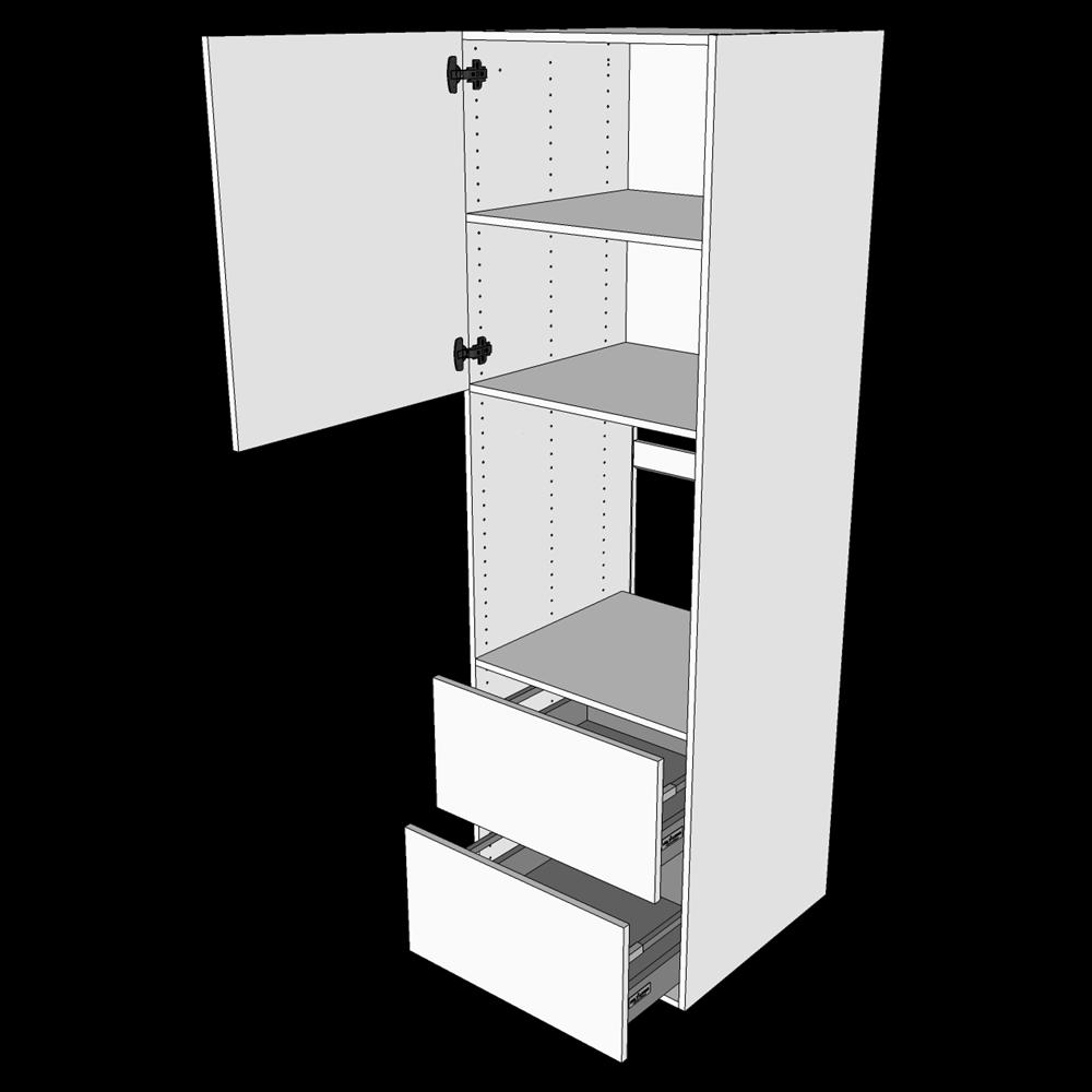 Image of   Indbygningsskab til ovn H: 195,2 cm D: 60,0 cm - 2 skuffer fuldudtræk/softluk