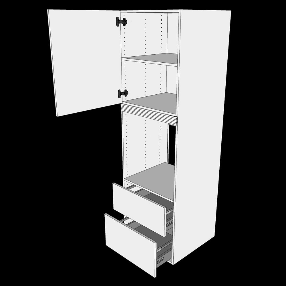 Image of   Indbygningsskab til ovn H: 195,2 cm D: 60,0 cm - 1 låge & 2 skuffer fuldudtræk/softluk