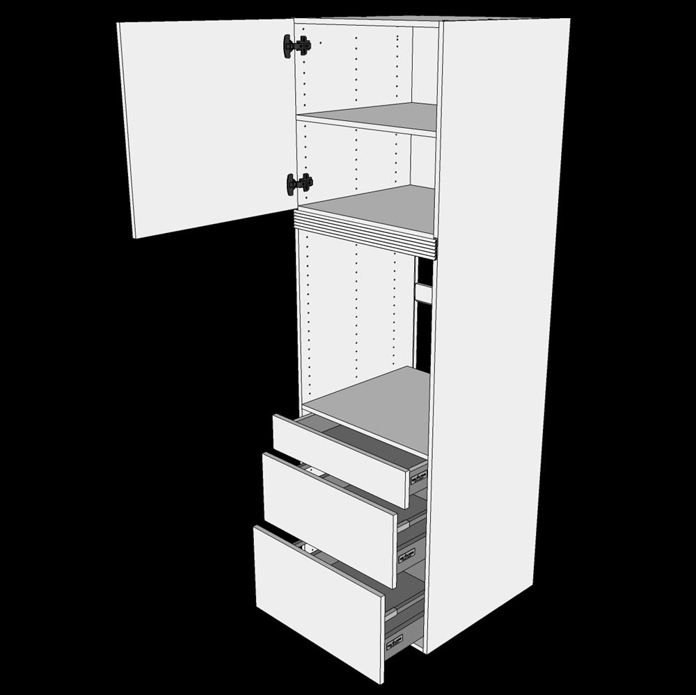 Image of   Indbygningsskab til ovn H: 195,2 cm D: 60,0 cm - 3 skuffer fuldudtræk/softluk og 1 låge