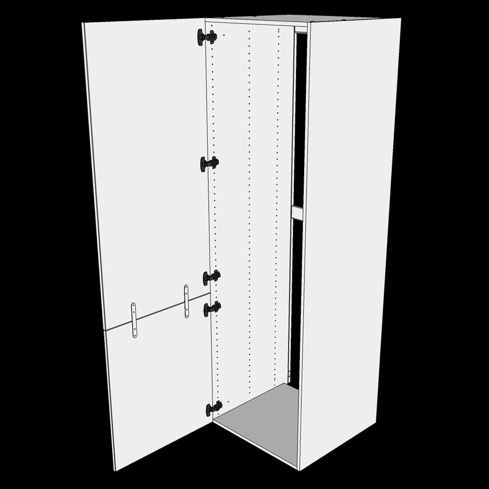 Image of   Indbygningsskab til køl H: 195,2 cm D: 60,0 cm - 2 låger med samling