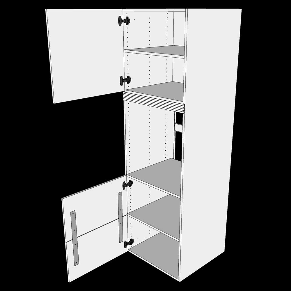 Image of   Indbygningsskab til ovn H: 195,2 cm D: 60,0 cm - 2 låger & skuffe look
