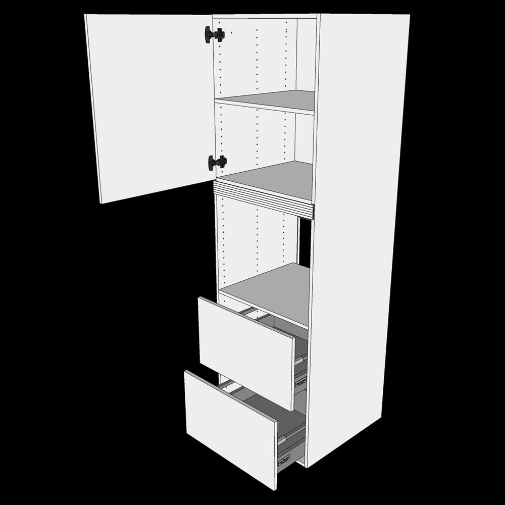 Image of   Indbygningsskab til ovn H: 195,2 cm D: 60,0 cm - 1 låge & 2 skuffer fuldudtræk og softclose