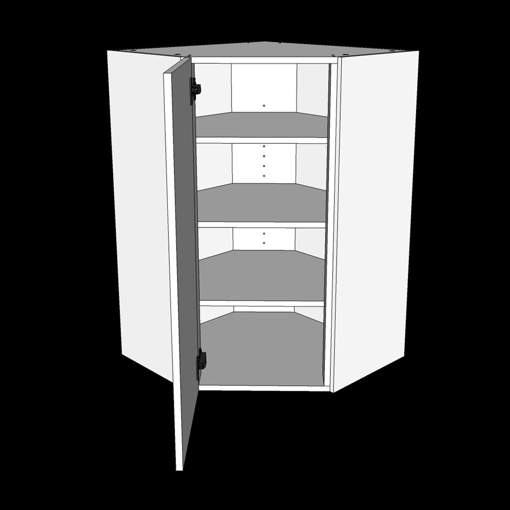 Image of   Hjørneskab højt diagonalskab H: 89,6 cm D: 34,0 cm - 1 låge 3 hylder