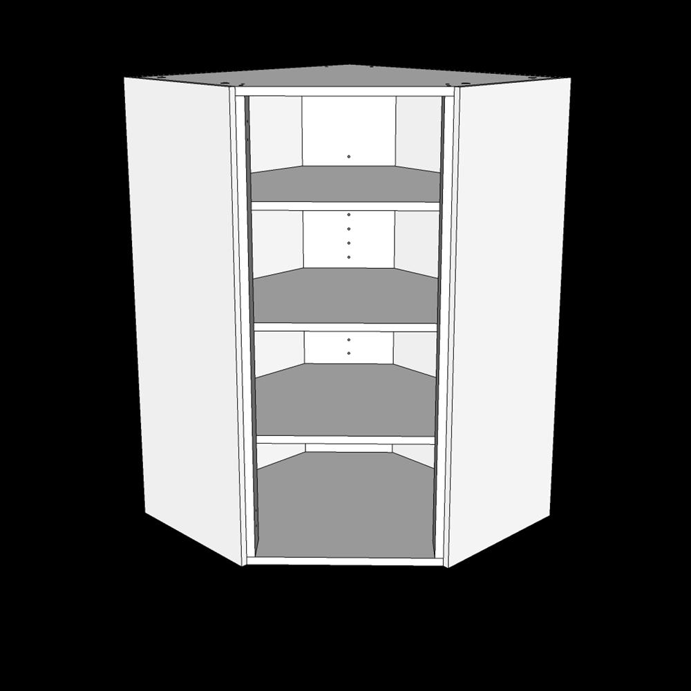 Image of   Over/hjørneskab H: 70,4 cm D: 32,0 cm - Inkluderet 2 hylder - Uden låge