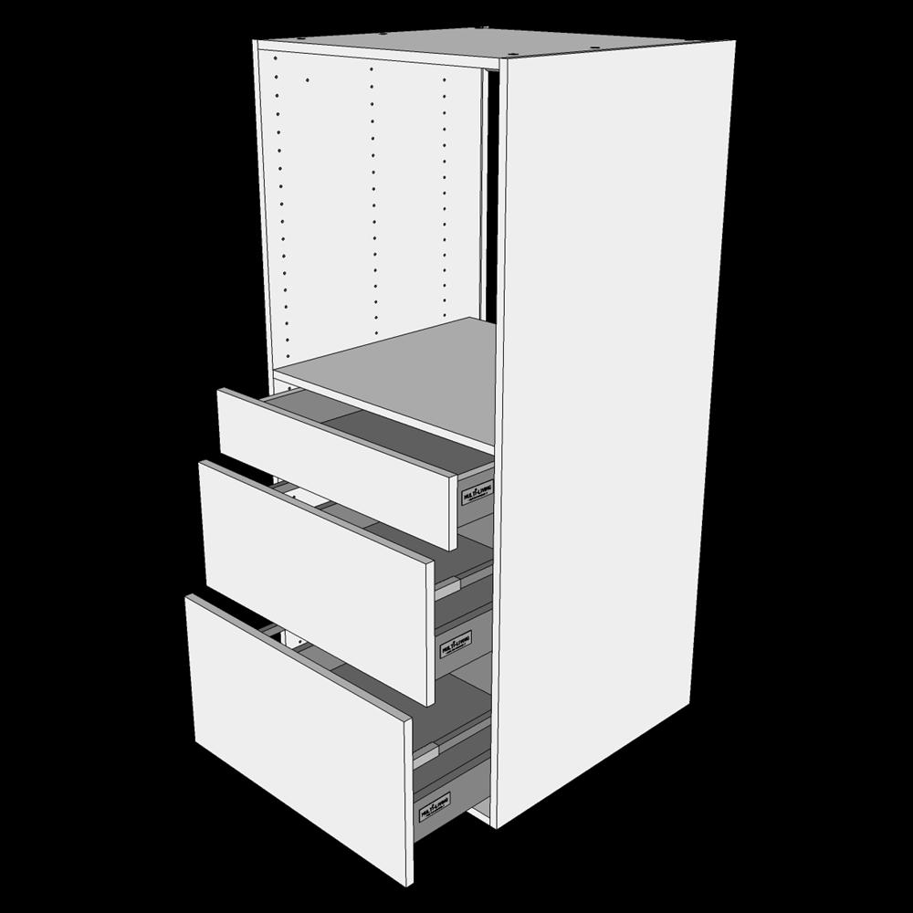 Image of   Indbygningsskab til ovn H: 131,2 cm D: 60,0 cm - 3 skuffer fuldudtræk/softluk