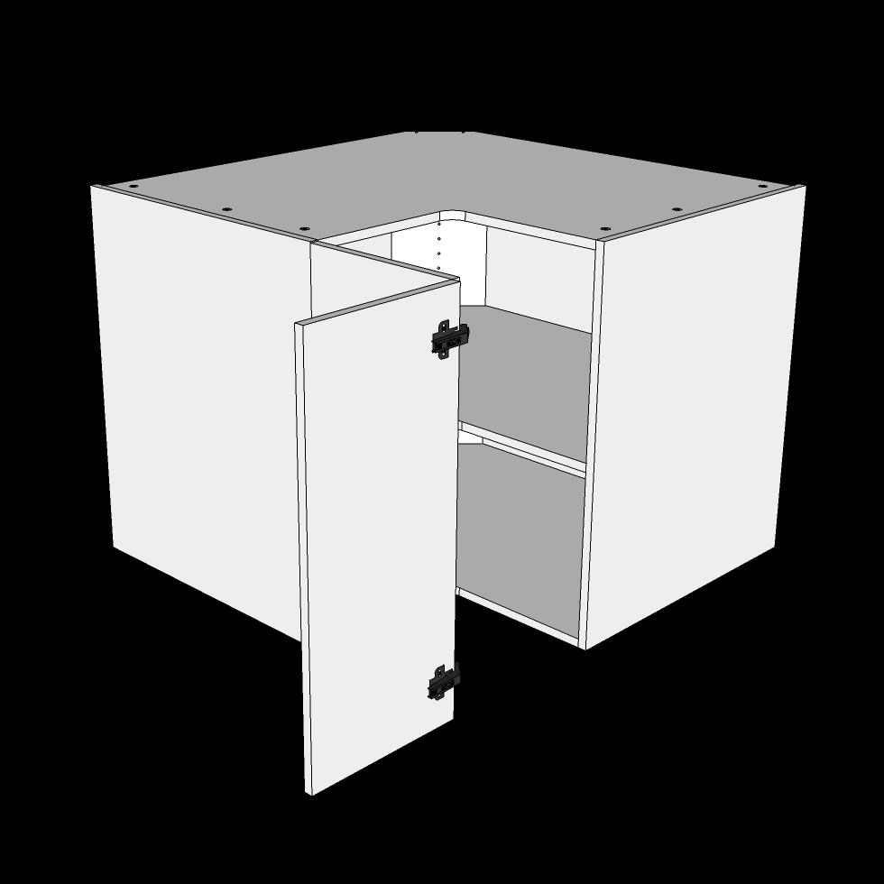 Image of   Hjørneskab knæklåge H: 70,4 cm D: 60,0 cm - 1 låge 3 hylder