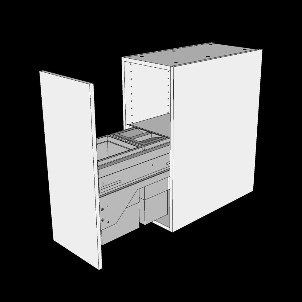 Image of   Affaldsskab H: 70,4 cm D: 60,0 cm - Inklusiv affaldssystem med frontudtræk