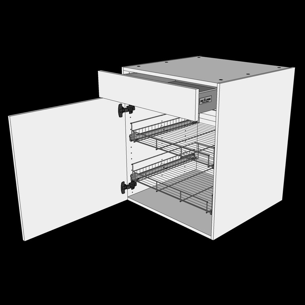 Image of   Grydeskab underskab H: 70,4 cm D: 60,0 cm - 2 udtræksriste 1 låge & 1 skuffe med fuldudtræk/softluk