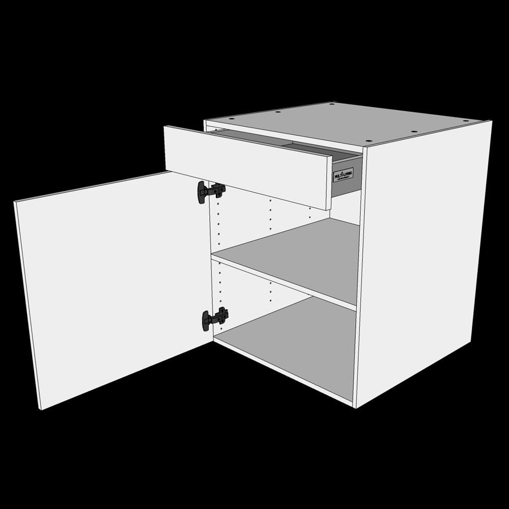 Image of   Hyldeskab H: 70,4 cm D: 60,0 cm - 1 låge & skuffe fuldudtræk/softluk
