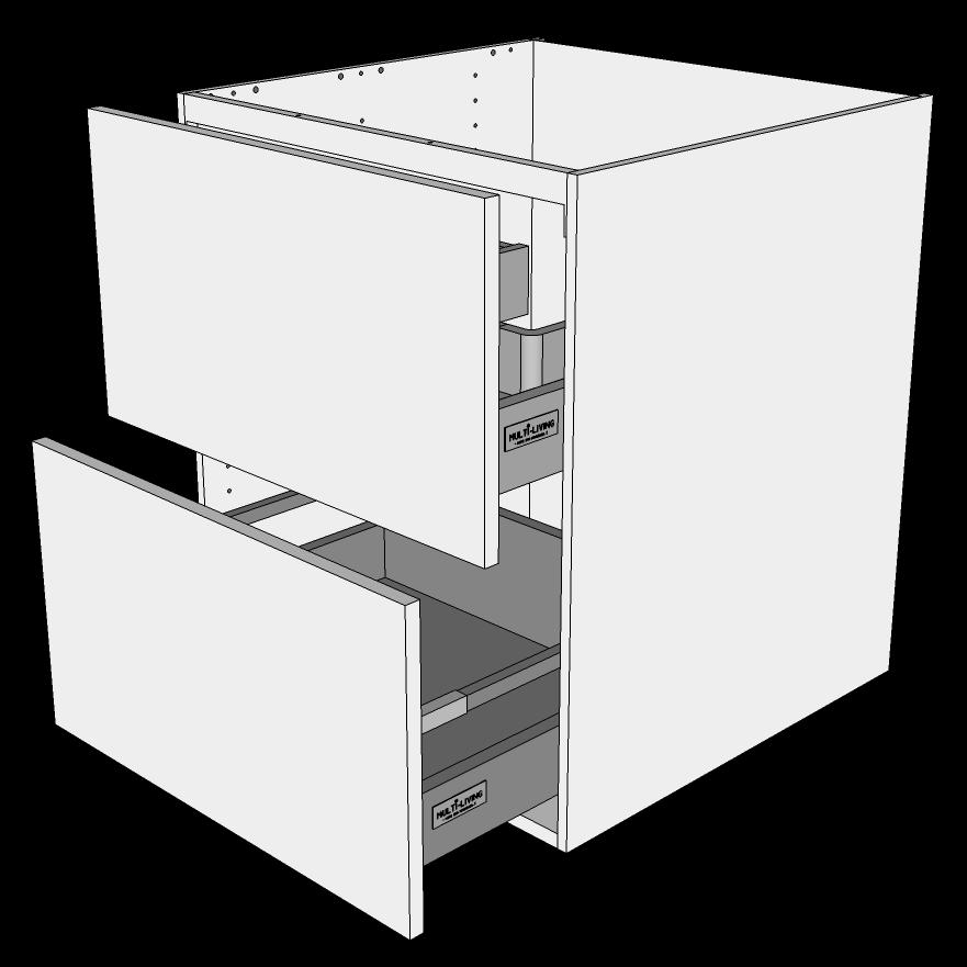 Image of   Skuffeskab H: 70,4 cm D: 60,0 cm - 2 skuffer fuldudtræk/softluk
