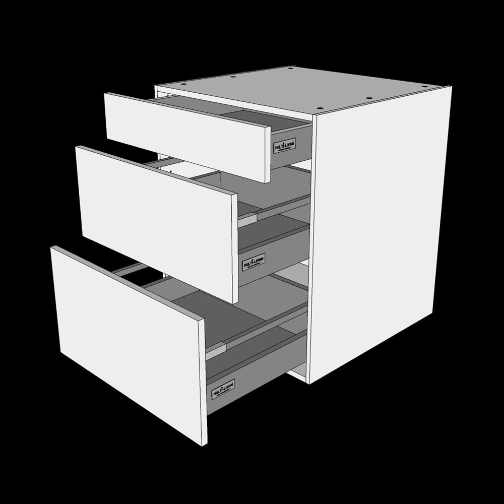 Image of   Skuffeskab H: 70,4 cm D: 60,0 cm - 3 skuffer fuldtudtræk/softluk