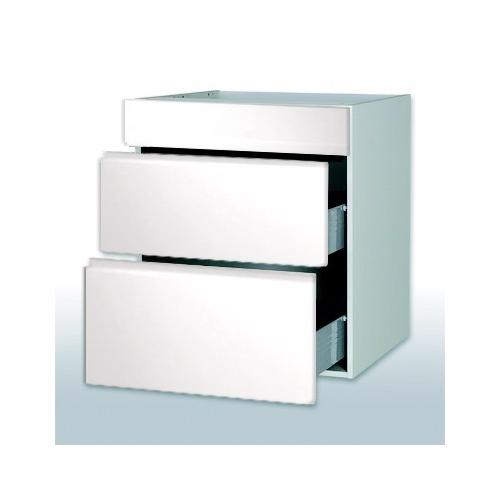 Hvid grebsfri vaskeskab 2 skuffer 1 blændpl b: 80 cm. med fuldudtræk/softluk - Skuffeskabe - hvid grebsfri