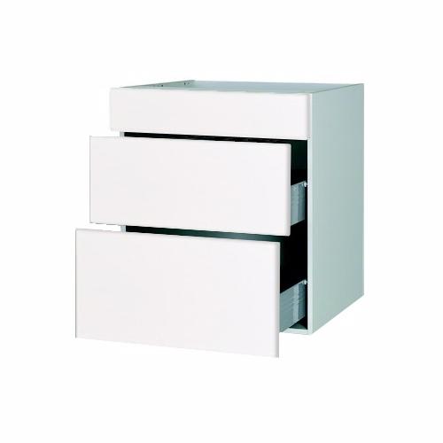 Malet hvid front vaskeskab 2 skuffer 1 blændpl b: 60 cm. med fuldt udtræk/softluk - Skuffeskabe - malet hvid front