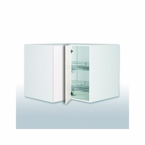 Hvid front hjørneskab b: 90 cm. knæklåge 2 x 3/4 karrusel
